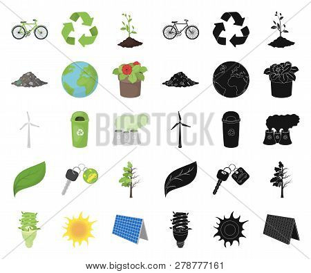 Bio And Ecology Cartoon, Black Icons In Set Collection For Design. An Ecologically Pure Product Vect