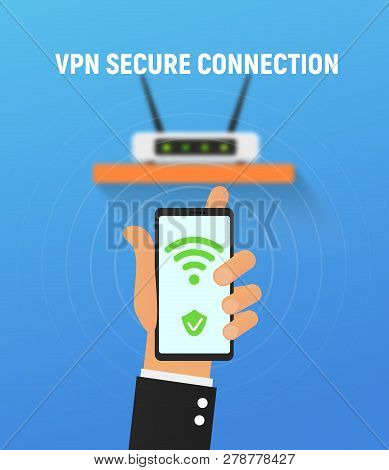Vpn Security System. Secure Wireless Network Connection Vector Illustration. Cartoon Hand Holding Sm