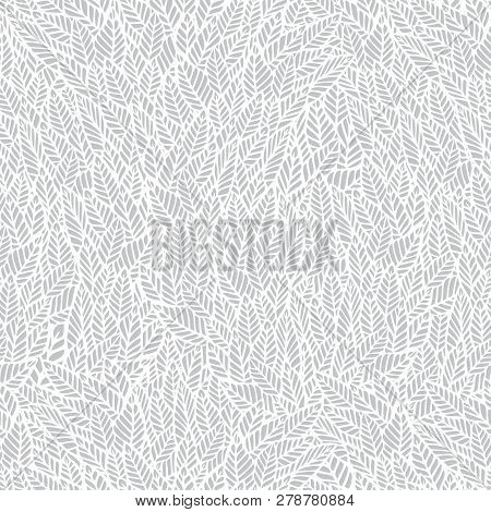 Abstract Vector Seamless Pattern. Inspired By Foliage, Tropic, Forest, Plants, Tree, Bush, Nature. S