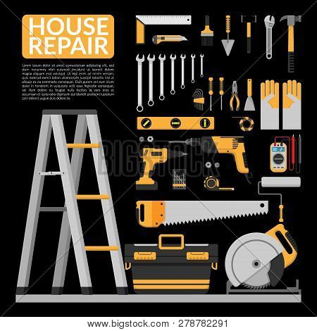 Set Of Diy Home Repair Working Tools Vector Logo Design Template. Home Repair Banner, Construction ,