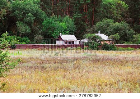 Rural House In Summer Nature Lgreen Andscape