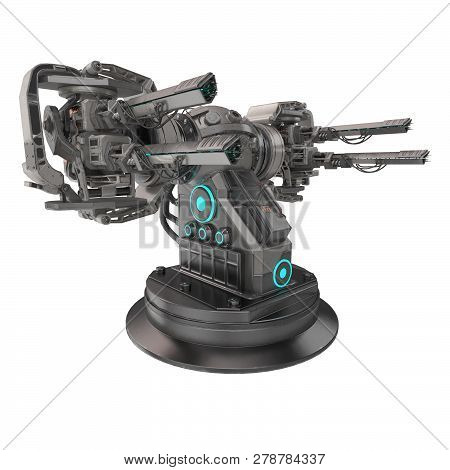 Science Fiction Gun With Four Guns On An Isolated White Background. 3d Illustration