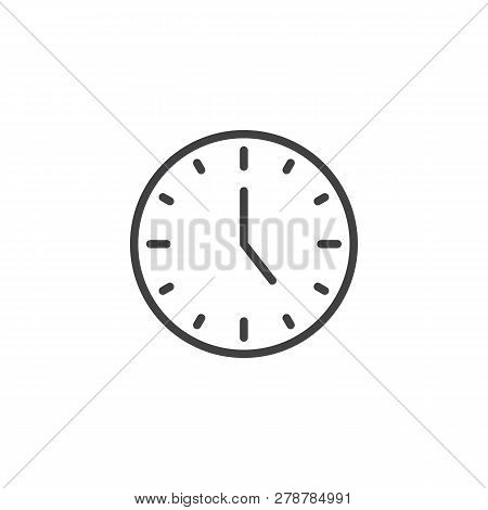 Circle Clock Line Icon. Linear Style Sign For Mobile Concept And Web Design. Circular Wall Clock Out
