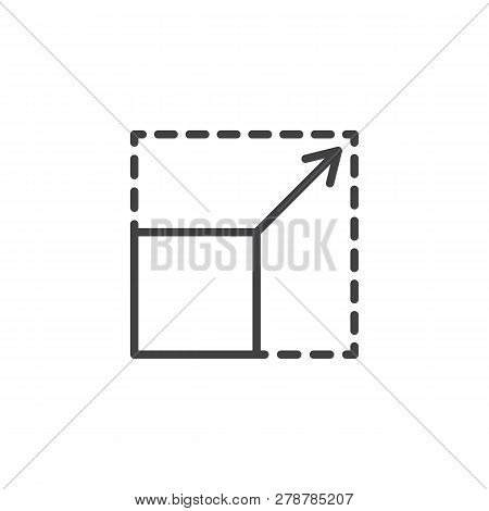 Scalability Line Icon. Linear Style Sign For Mobile Concept And Web Design. Square With Corners And