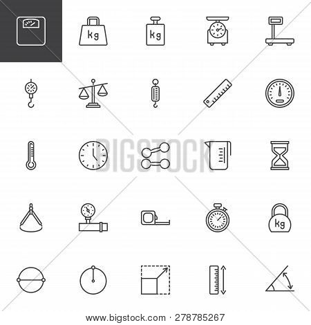 Scale And Measurement Line Icons Set. Linear Style Symbols Collection, Outline Signs Pack. Vector Gr