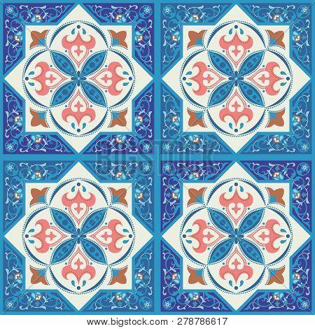 Blue Ornamental Tiles Background, Vector Seamless Pattern