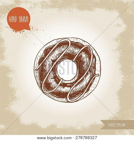 Hand Drawn Sketch Style Donut With Chocolate Cream And Icing Decoration. Vector Illustration Isolate
