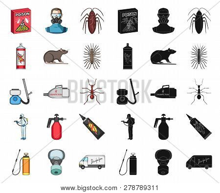 Pest, Poison, Personnel And Equipment Cartoon, Black Icons In Set Collection For Design. Pest Contro