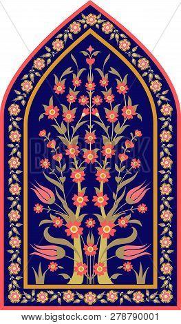 Traditional Islamic Floral Design. Ottoman Tile Motif. Ornate Vintage Card Template