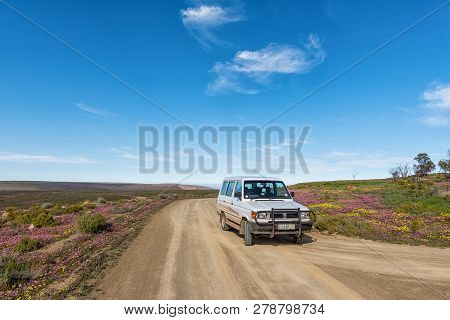 Tankwa Karoo National Park, South Africa, August 31, 2018: A Road Landscape With Purple And Yellow W
