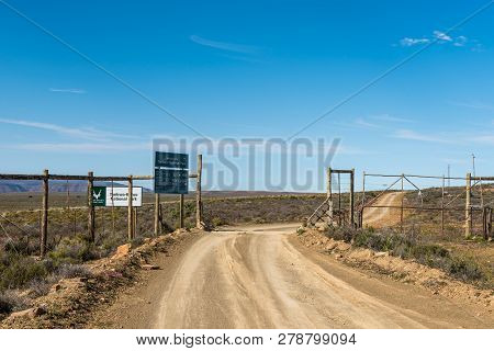 Tankwa Karoo National Park, South Africa, August 31, 2018: The Eastern Entrance To The Tankwa Karoo