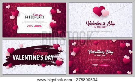 Set Of Valentines Day Banners With Doodle Background. 14 February. Vector Illustration
