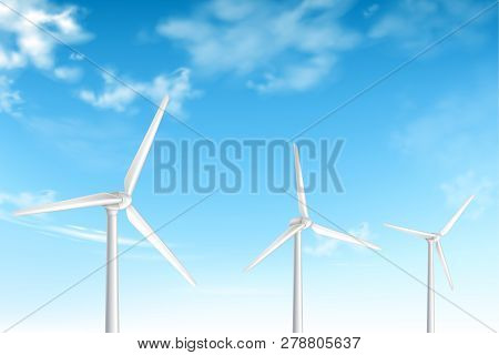Wind Turbines On Cloudy Blue Sky Background Realistic Vector Illustration. Renewable Clean Energy So