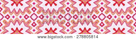 Pink red Seamless Border Scroll. Geometric Watercolor Frame. Amazing Seamless Pattern. Medallion Repeated Tile. Wondrous Chevron Ribbon Ornament. poster