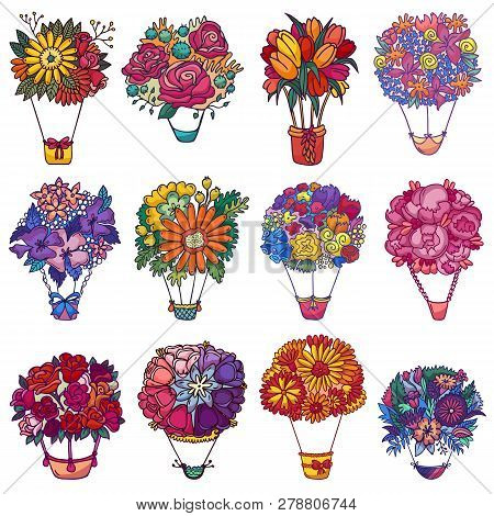 Bouquet Aerostat Vector Beautiful Floral Air-balloon Gift With Blossom Flowers Illustration Flowerin