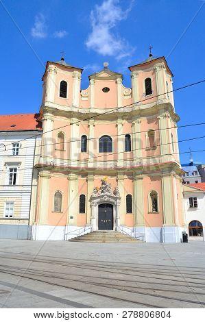 Bratislava, Slovakia. Trinitarian Church In A Sunny Summer Day