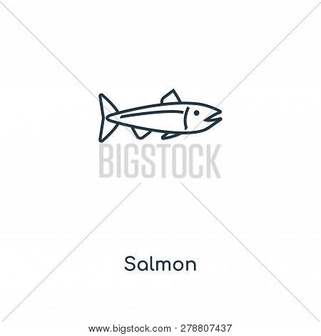 Salmon Icon In Trendy Design Style. Salmon Icon Isolated On White Background. Salmon Vector Icon Sim