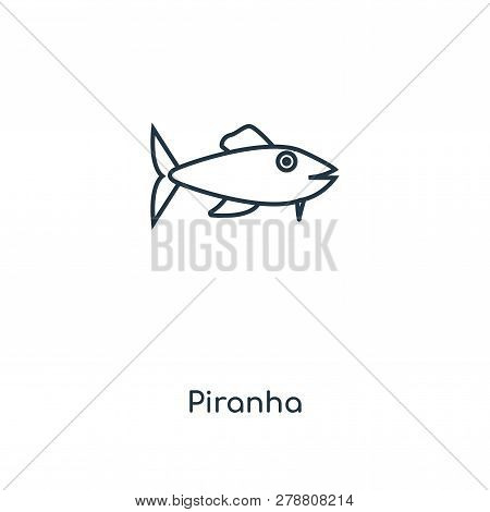 Piranha Icon In Trendy Design Style. Piranha Icon Isolated On White Background. Piranha Vector Icon