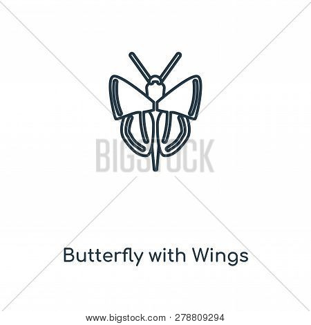 Butterfly With Wings Icon In Trendy Design Style. Butterfly With Wings Icon Isolated On White Backgr