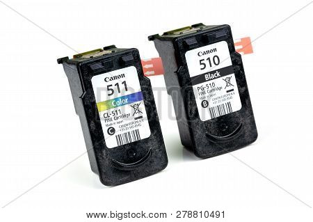 Benon, France - January 15, 2019: Canon 511 (color) And 510 (black) Inkjet Cartridge With Protective
