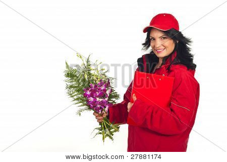 Happy Delivery Woman With Fresh Flowers