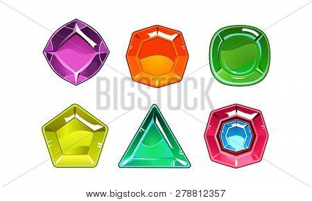 Cartoon Vector Set Of 6 Shiny Gemstones Of Different Shapes. Valuable Stones. Gaming Assets
