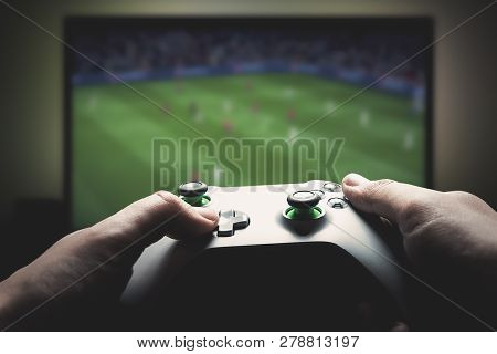 Wroclaw, Poland - Jan 08, 2019: Xbox Game Pad. Xbox One X Is Most Powerful Generation Video Gaming C