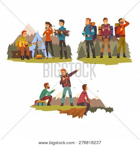 Men Travelling Together, Camping People, Tourists Hiking In Mountains, Backpacking Trip Or Expeditio