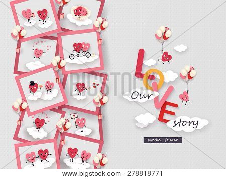 Love Story In Photo 3d Paper Cut Animated Couples Of Loving Hearts Soaring In The Clouds Funny Symbo