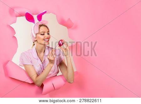Happy Easter! Painting Eggs. Egg Hunt. Easter Egg Hunt. Bunny Ears. Hunts For Easter Eggs. Woman Wit