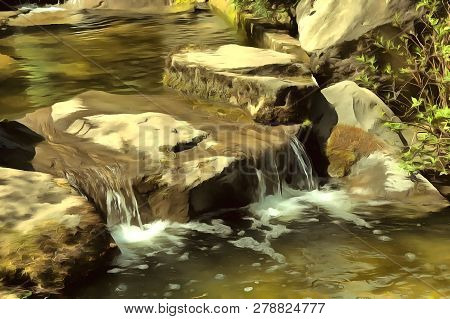 Abstract Watercolor Landscape. Mountain Stream, Rocks Covered With Moss, Water Cascade, Waterfall. D