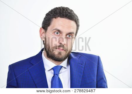 Man Well Groomed Business Formal Suit White Background. Business Man Serious Entrepreneur. Handsome