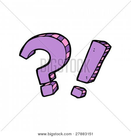 comic book cartoon question and exclamation marks