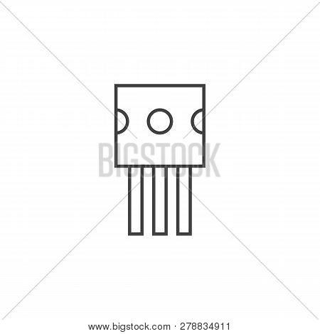 Transistor Outline Flat Icon Vector Design Illustration.
