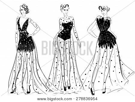 Woman Figures In Long Couture Transparent Dresses