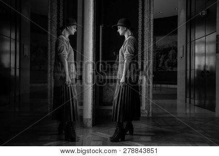 Self Reflection Portrait Of Beautiful Young Girl In Mirrored Window. Alter Ego. Female State Of Mind