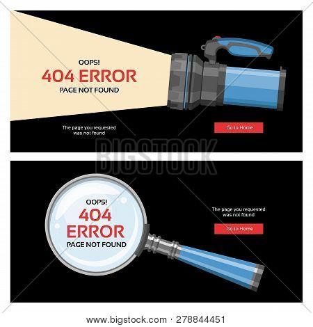 Error 404 Page Vector Internet Problem Web Warning Message Webpage Not Found Illustration Set Of Err