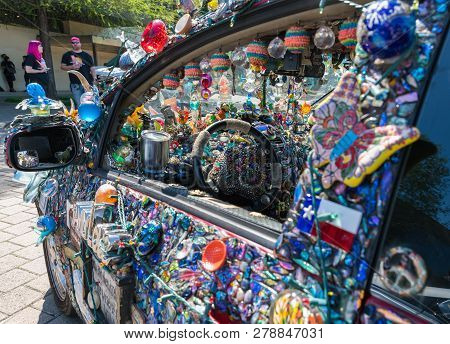 Houston, Texas - April 10, 2018: The 31St Annual Houston Art Car Parade Weekend. The Art Car Parade