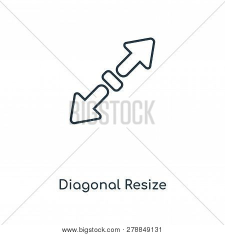 Diagonal Resize Icon In Trendy Design Style. Diagonal Resize Icon Isolated On White Background. Diag