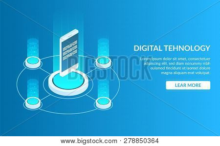 Concept Image Of Digital Technology. Mobile Phone Or Smartphone. Development Of A Mobile Application