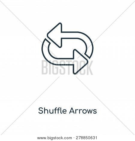 Shuffle Arrows Icon In Trendy Design Style. Shuffle Arrows Icon Isolated On White Background. Shuffl