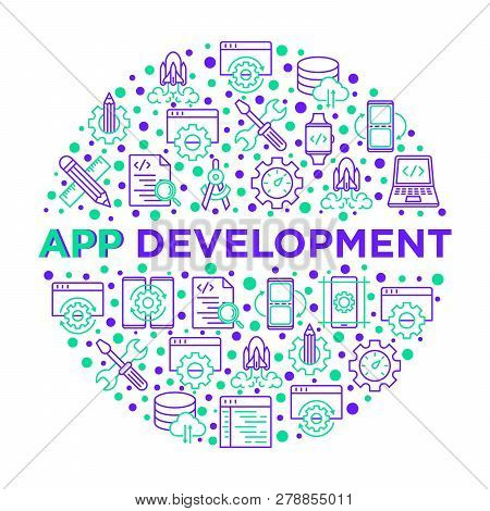 App Development Concept In Circle With Thin Line Icons: Writing Code, Multitasking, Smart Watch App,