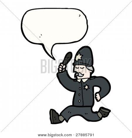 cartoon policeman giving chase