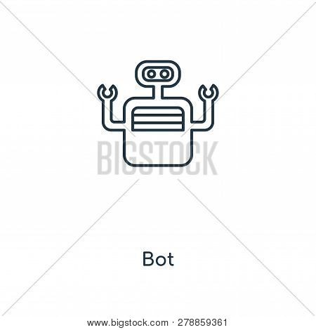 Bot Icon In Trendy Design Style. Bot Icon Isolated On White Background. Bot Vector Icon Simple And M