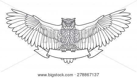 Owl. Eagle Owl Outline Emblem In Hipster Style With Ribbon. Birds. Black White Hand Drawn Doodle. Ic