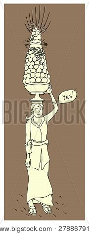 Woman With An Offering To The Spirits Vector Illustration. Bali Culture Art. Traditional Ceremonial