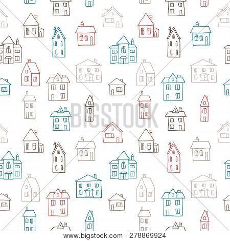 House Doodle Pattern - Village Vector Illustration. Seamless Texture.