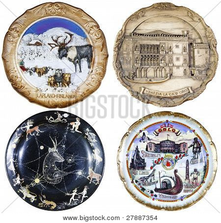 set of four souvenir plate, isolated on white background poster