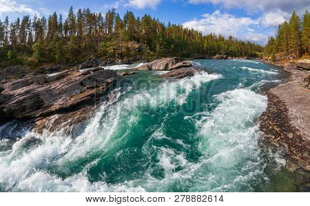 Rapids on the Sjoa river in Oppland County of Eastern Norway, Scandinavia, popular for rafting, kayaking, riverboarding and other activities poster