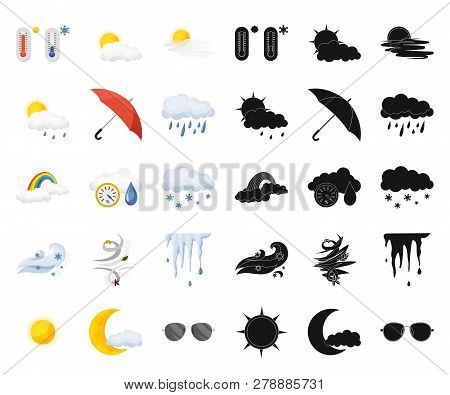 Vector Illustration Of Weather And Climate Symbol. Set Of Weather And Cloud Stock Symbol For Web.
